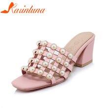 e18a3cc2 Karinluna 2018 tamaño grande al por mayor 32-43 marca verano Zapatos mujeres  mulas bombas dulce perlas zapatos mujer tacones alt.