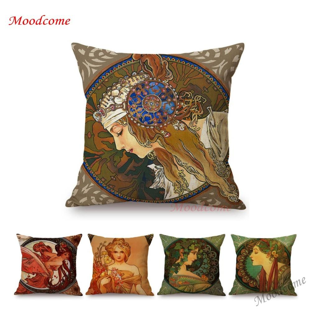 Vintage européen Art Nouveau Mucha galerie décoratif canapé taie d'oreiller belle beauté fille coton lin luxe housse de coussin