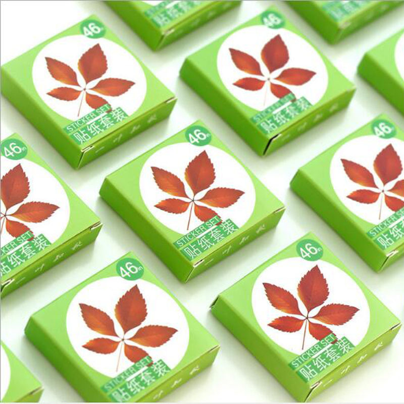 Купить с кэшбэком 46pcs/box Autumn maple leaves paper sticker decoration DIY diary scrapbooking sealing sticker children's favorite stationery
