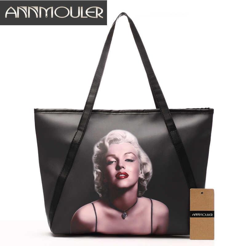 d3ee5a0af3d Annmouler бренд Для женщин сумка Большой конструктор Сумки черного цвета из  искусственной кожи Мэрилин Монро печати