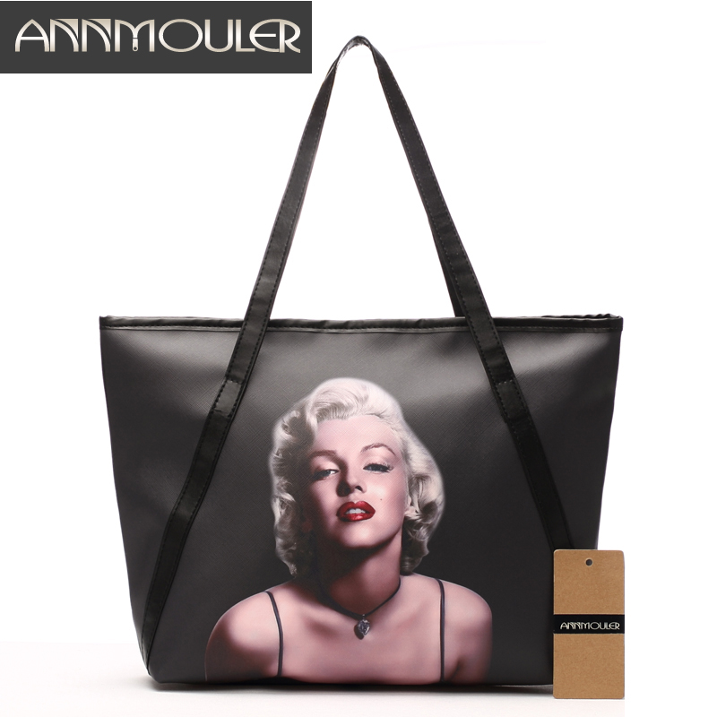 Annmouler Brand Women Shoulder Bag Large Designer Handbags Black Pu Leather Marilyn Monroe Print Lady Bags Fashion Discount Tote 2018 luxry brand women leather handbags lady large tote bag female shoulder bags bolsas femininas sac black red cross velvet