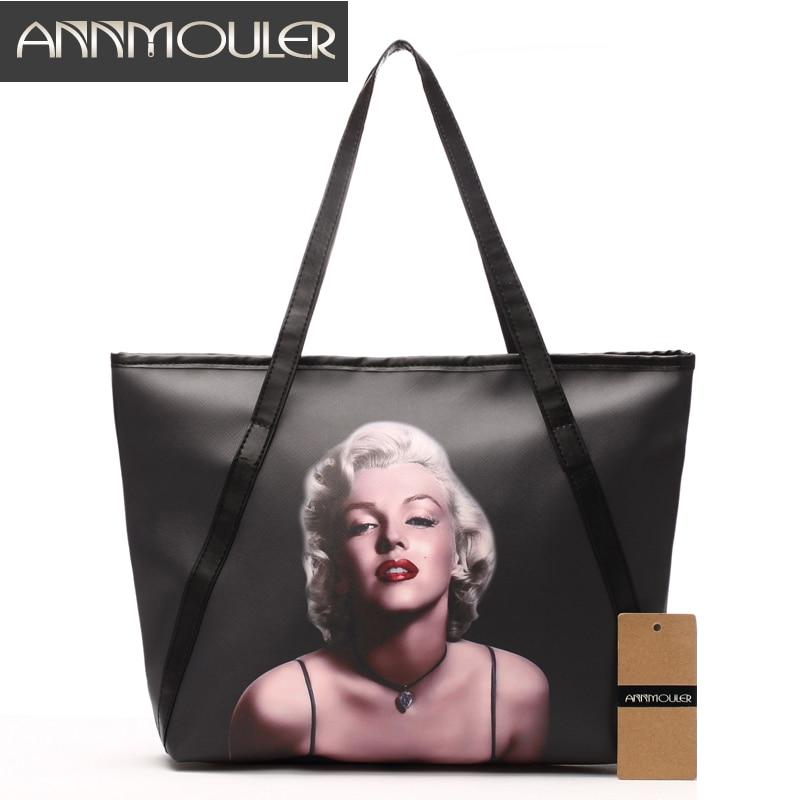 Annmouler Brand Women Shoulder Bag Large Designer Handbags Black Pu Leather Marilyn Monroe Print Lady Bags Fashion Discount Tote