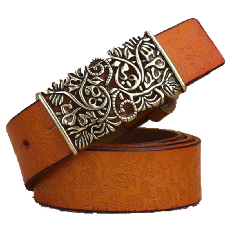 ba953bbac Genuine Cowskin Leather Belts For Women Carved Design Retro Metal Women  Strap Cintos Ceinture Female High Quality Belts-in Women's Belts from  Apparel ...