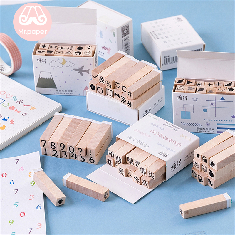 Mr Paper 12pcs/lot Cute Number Wooden Rubber Stamps For Scrapbooking Decoration Creative Stationery DIY Craft Standard Stamps
