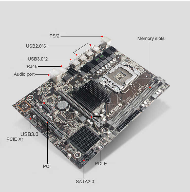 Абсолютно новая материнская плата HUANAN ZHI X58 LGA1366 материнская плата для процессора Intel Xeon X5675 X5670 X5660 X5650 USB3.0 PCI-E разъем протестирован