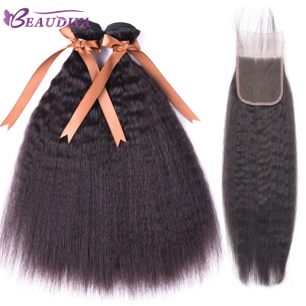 Peruvian Human Beau Diva Kinky Staight Hair Hair Weave Bundles 2 or 3 Bundles With Closure
