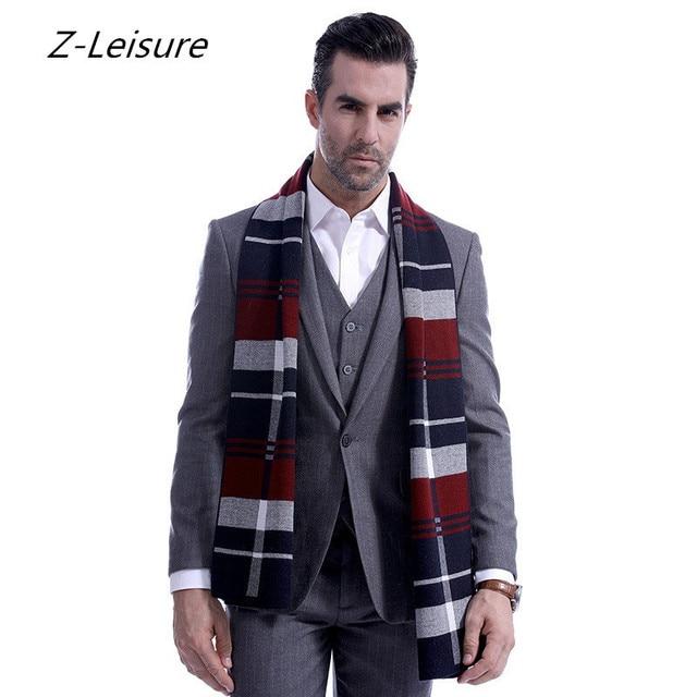 Wool Scarves Foulard Echarpe Homme Cashmere Scarf Winter Warm Knitting  Plaid Scarf For MenShawl Wrap Long 09c34608e50
