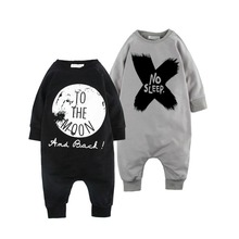 Spring Autumn Fashion Baby Boy Clothes Cotton Baby Girl Romper Long Sleeve Baby Jumpsuit One-pieces No Sleep to the Moon Outfits