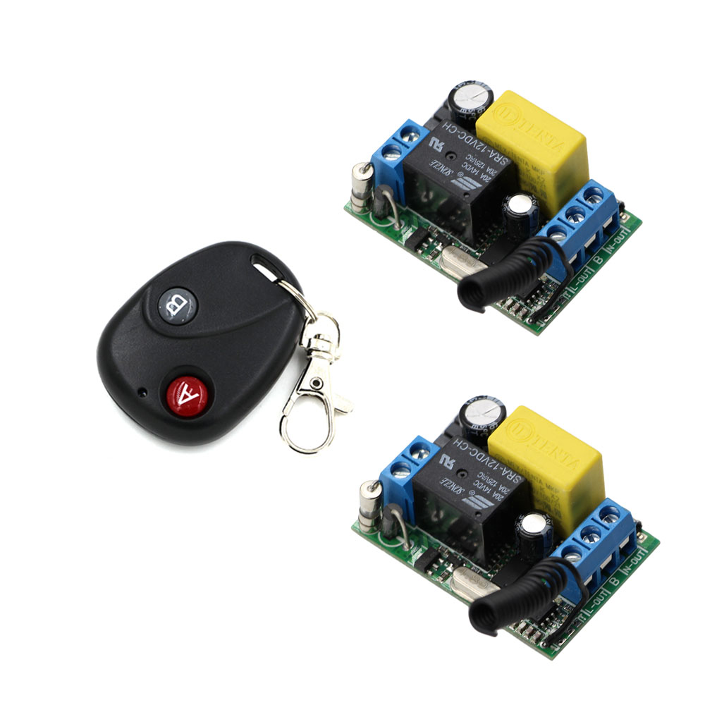 Latest Wireless Remote Control Switch RF AC 220 V 1 Channel 2 piece Receiver with Cover & 1 piece Transmitter Self-lock Mode