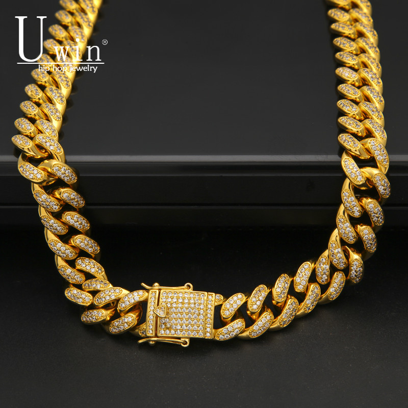 Men Zircon Cuban Miami Link Necklace Copper Material CZ Clasp Iced Out Gold Silver Hip hop Chain Necklace 18inch 20inch