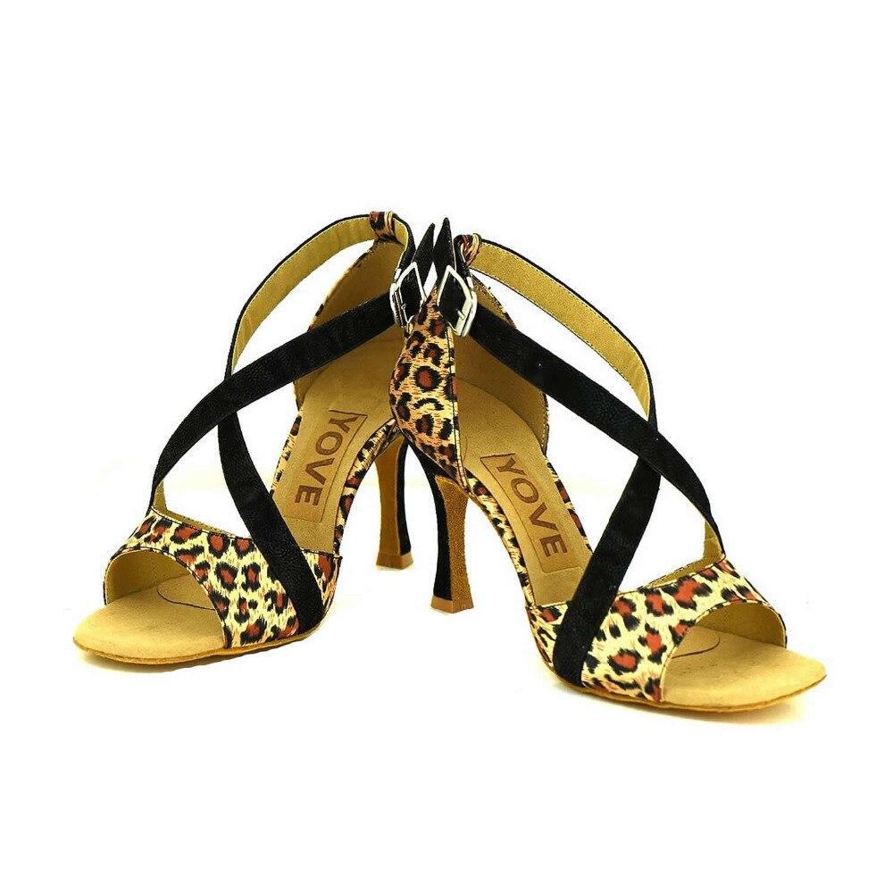 YOVE Dance font b Shoe b font Leopard Women s Latin font b Salsa b font