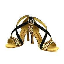 YOVE Dance Shoe Leopard Women's Latin/ Salsa Dance Shoe 3.5″ Flare High Heel More Color LD-3055