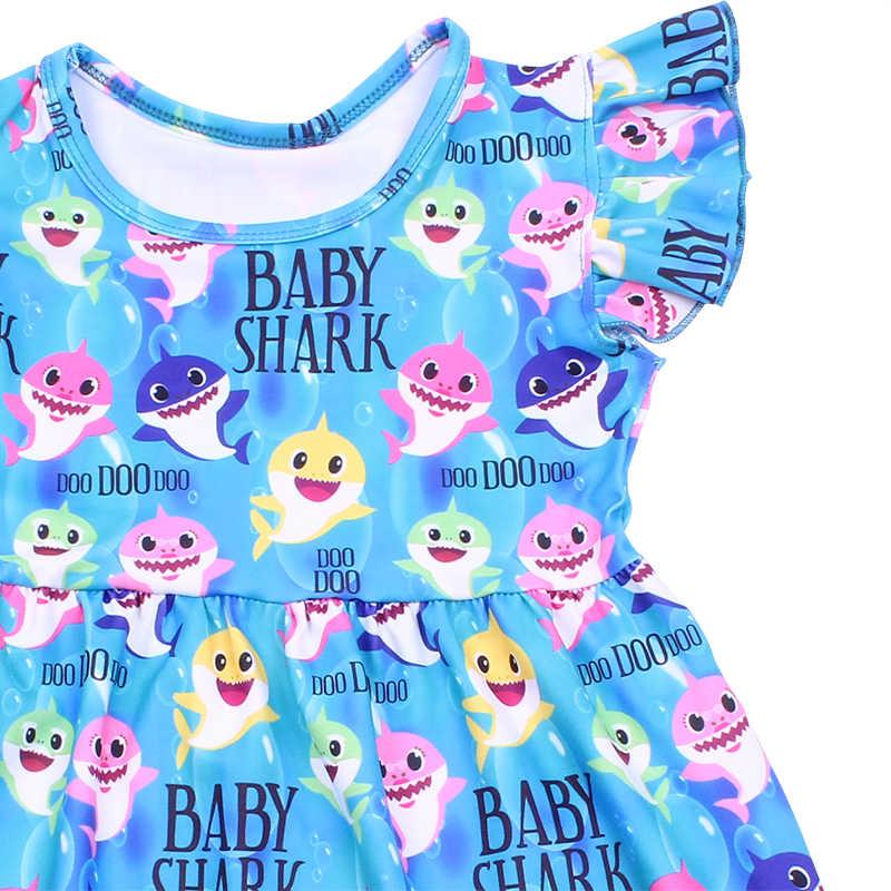 Venda quente de Verão Do Bebê Meninas Vestido Azul Tubarões Crianças Boutique Milksilk Na Altura Do Joelho Vestido Sem Mangas Dos Desenhos Animados Roupas