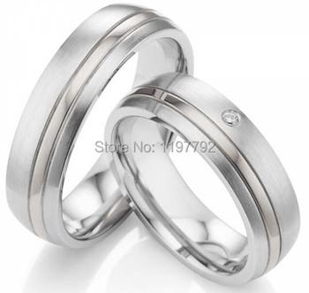 tailor made classic silver color pure titanium stainless steel couple rings sets