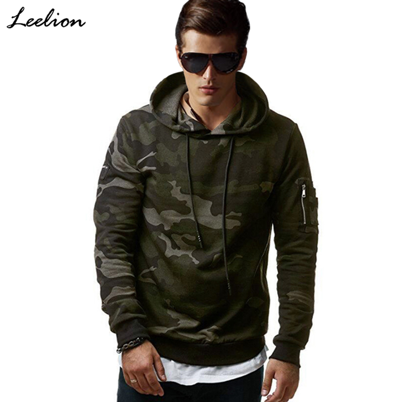LeeLion 2018 New Camouflage Hoodies Men Cotton Sweatshirts Fashion Casual Sportswear Slim Fit Tracksuit Hip Hop Hooded Pullover