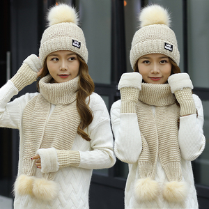 Image 4 - 2018 New Women Winter Hat Scarf /Gloves Sets Female Three   piece Knitted Hats Scarf Set Caps for Girl Warm Skullies Beanies hat