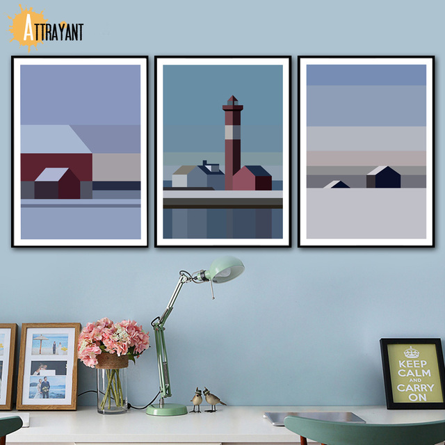 Abstract Geometric House Snow Landscape Wall Art Canvas Painting Nordic Posters And Prints Wall Pictures For Living Room Decor