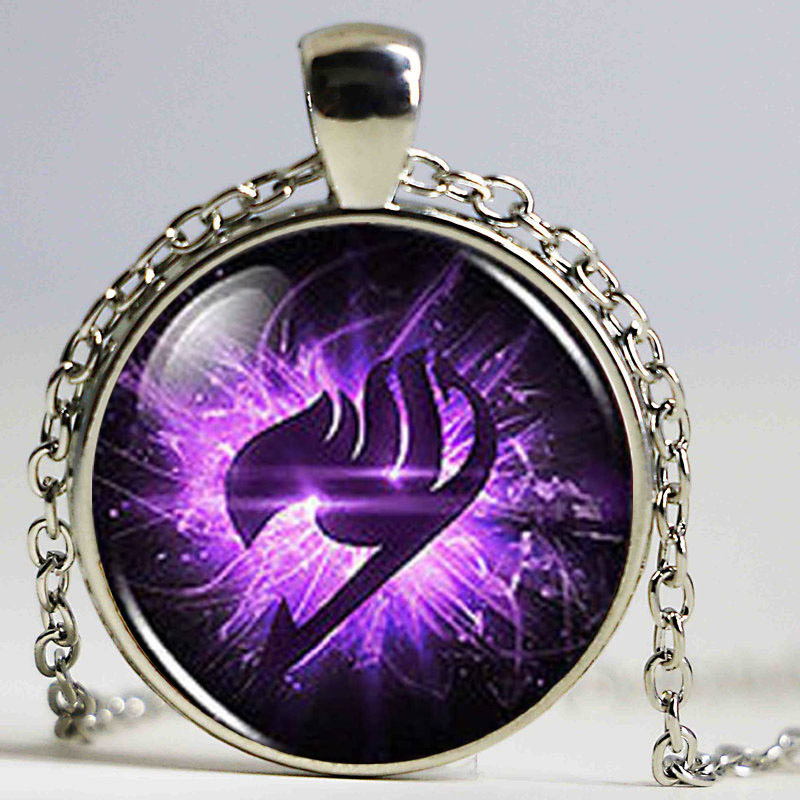 Steampunk Anime Fairy Tail Guild Marks Purple Wing Pendant Necklace doctor dr who 1pcs/lot chain men jewelry women new chain