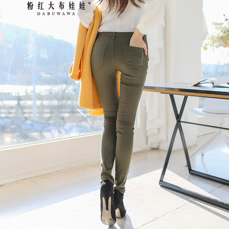 original 2018 brand new spring casual slim pencil pants grass green fashion jeans women wholesale new fashion denim jeans spring casual high waist slim pencil jeans embroidery patchwork all match pencil pants long trouser