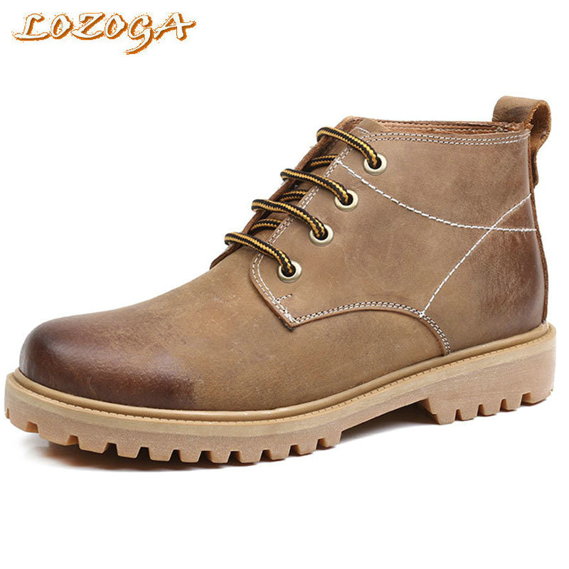 New Men Boots Cow Leather Desert Boots High Quality Casual Boots Lace-Up Round Toe Handmade Mens Outdoor Work Boots Durable Wear new british style real top cow leather boots qshoes mens business dress casual fashion men personalized round toe boot y97 663