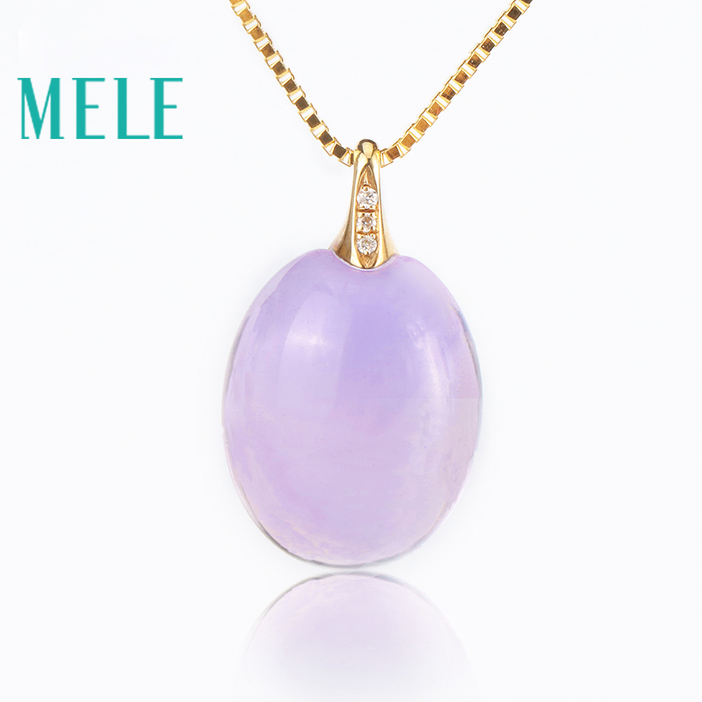 Real 18K gold natural amethyst pendants for women,Oval cut big gemstone jewelry modern stylish цена