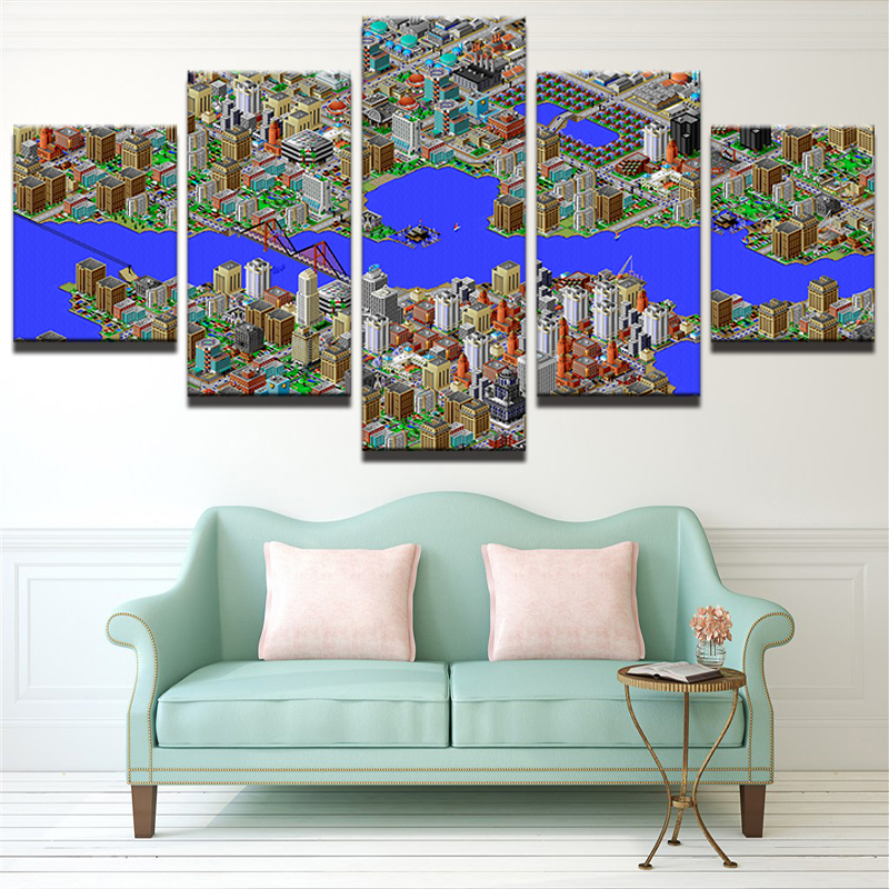 Home decor hd printed canvas oil painting art canvas 5 panel wall home decor hd printed canvas oil painting art canvas 5 panel wall pictures city building blueprint for living room decor pengda in painting calligraphy malvernweather Gallery