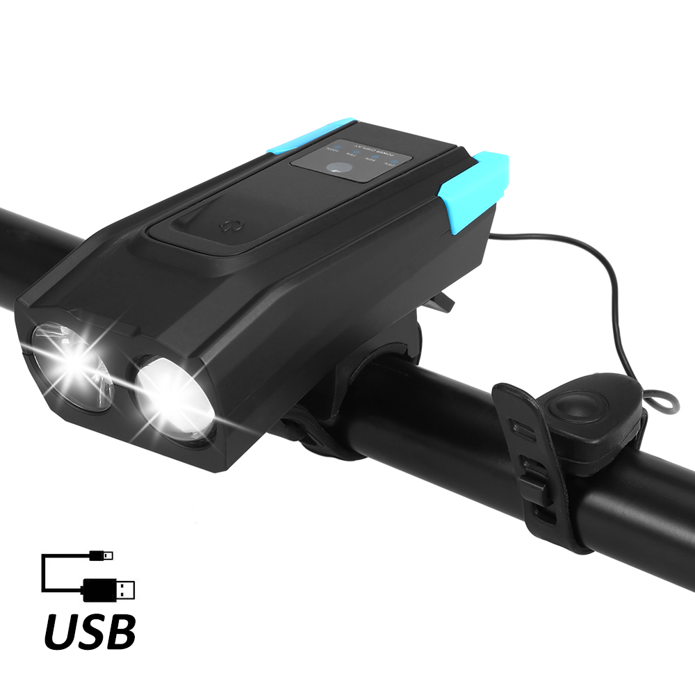 Bicycle Front Light USB Rechargeable Smart Induction Bike Headlight LED Lamp Flashlight With Horn 2000mAh/4000mAh Battery