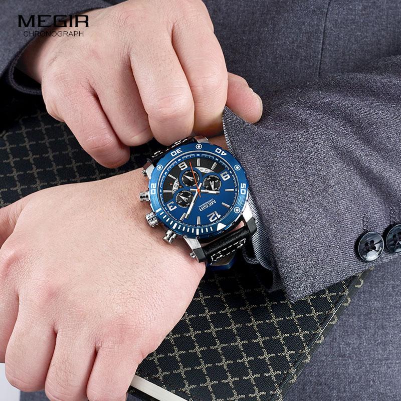 Ure mænd MEGIR mænd kronograf kvarts ure ægte læder armé - Mænds ure - Foto 5