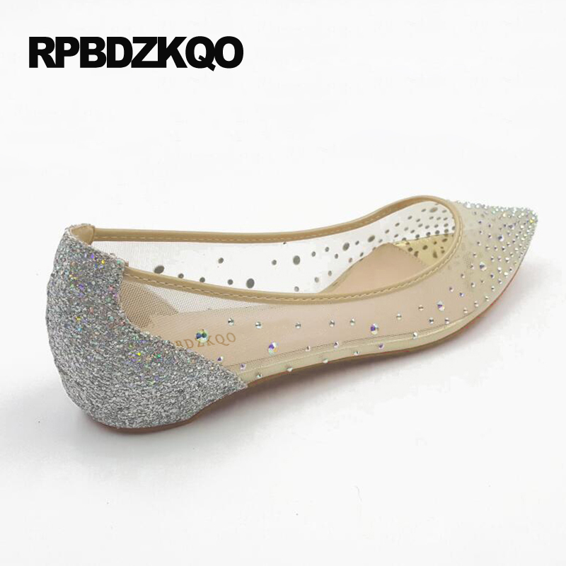 Flats 10cm nude Strass nude Taille Chaussures Bout Grande Mariage Cristal Flats 5cm Nude nude Appartements Pointu 2017 Respirant Ascenseur Luxe Patent nude Maille Femmes Designer Glitter Piste De 8cm xFHHWnqA1T