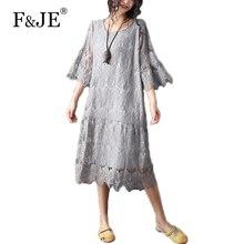 F & je 2017 летняя мода искусство стиль женщины свободные повседневная длинные dress сексуальная выдалбливают высокое качество кружева dress большой размер одежды j999