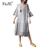 F JE 2017 Summer Fashion Arts Style Women Loose Casual Long Dress Sexy Hollow Out Top