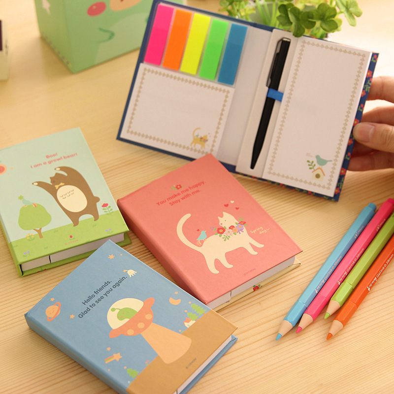 3 pieces South Korea stationery hardcover crust animal cover notes this post combined with pen set notebook sticker note