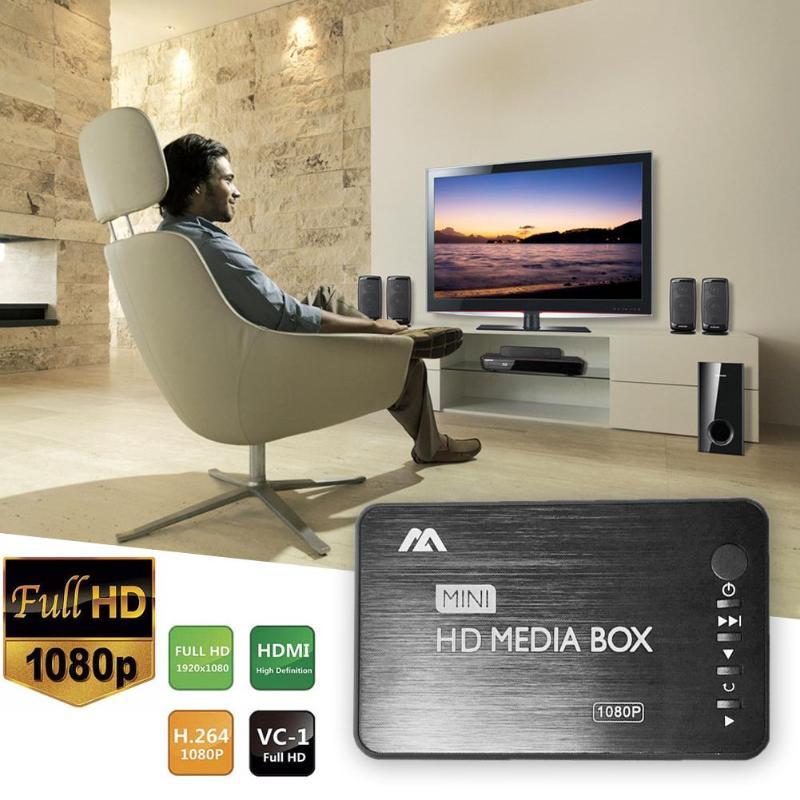 Mini Aluminum Blu-ray 3d Media Player 1080p Full Hd Vga Hdmi Av Usb Optical Fiber Coaxial Tv Video Box Remote Control Promotion Soft And Antislippery