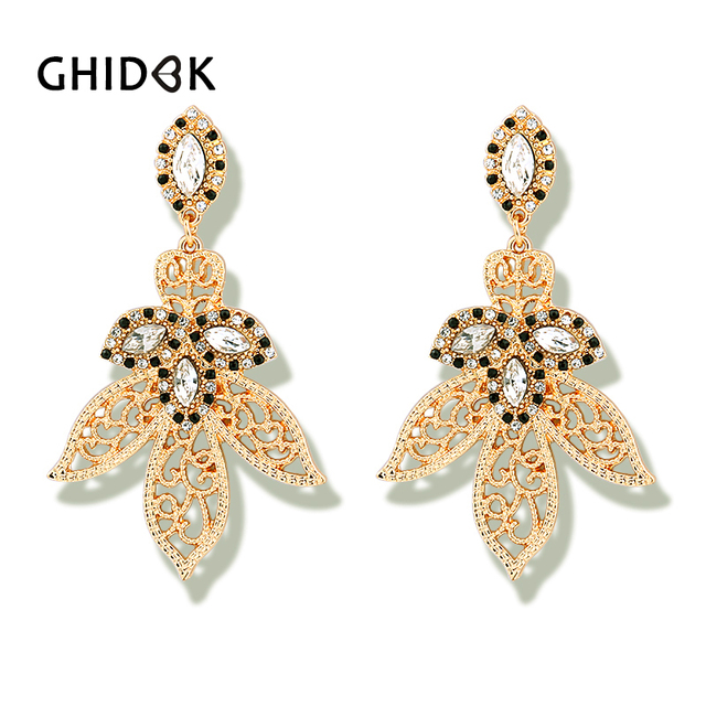 GHIDBK Vintage Gold Leaf Rhinestone Chandelier Earrings For Women Statement  Hollow Dangle Earrings Baroque Luxury Earrings Gifts 51be27822832