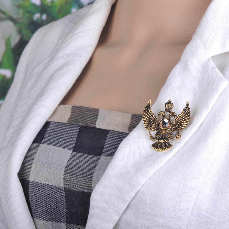 Blucome Retro ruso nacional emblema broches oro antiguo Color cristal insignia solapa Pin mujeres hombres ropa traje joyas Clips