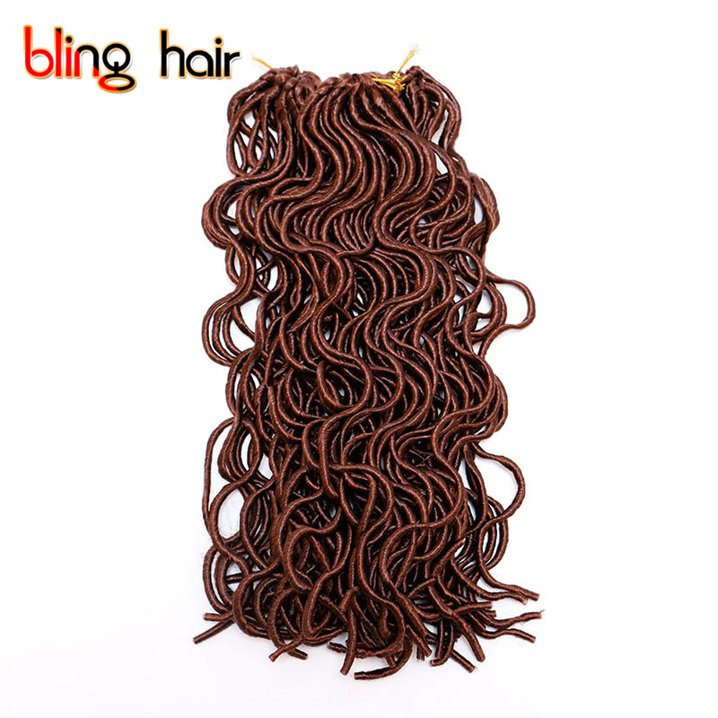 Bling Hair 3pcs Hair Products 18 Inch Synthetic Fiber Braiding Hair Extensions Faux Locs Curly Crochet Braids 24strands/pack