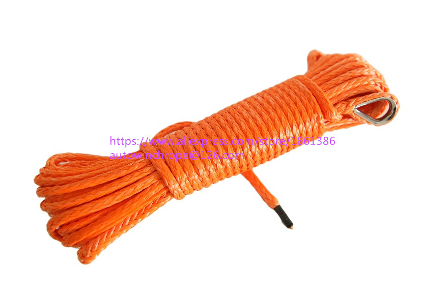 5mm 15m Orange Synthetic Winch Rope ATV Winch Line Off Road Rope Kevlar Winch Cable ATV