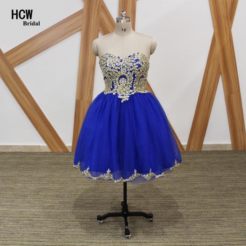 Robes de bal courtes 2019 robe de bal bleu Royal robe de bal avec dentelle dorée cristaux scintillants Tulle longueur au genou Sexy robes de soirée pas cher
