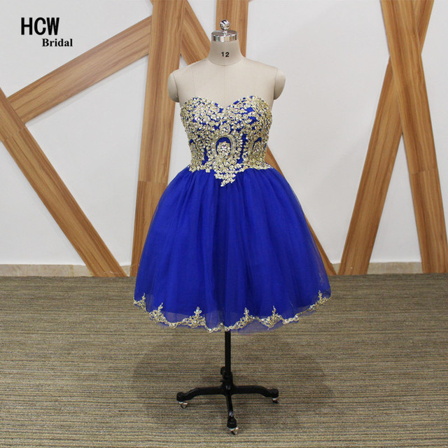 349e9b54716 Short Prom Dresses 2019 Royal Blue Ball Gown Prom Dress With Gold Lace  Sparkly Crystals Tulle Knee Length Sexy Party Gowns Cheap