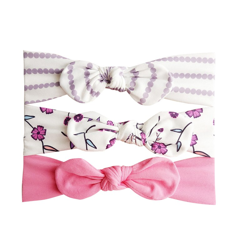 3pcs Hot Sale 8 Types Baby Girls Hair Accessories Infant Kids Print Hairband Set Newborn Newly Fashion Hair Suit