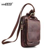Fashion Storage Waist Bag Phone Pouch Retro Genuine leather Belt Pockets Wallet Cover Men Multifunction Cigarette Purse Case New