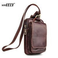 Fashion Storage Waist Bag Phone Pouch Retro Genuine Leather Belt Pockets Wallet Cover Men Multifunction Cigarette