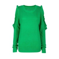 Women Casual Knitwear Autumn Long Sleeve Falbala Hollow Round Neck Loose Patchwork Ruffles Green Plain Female
