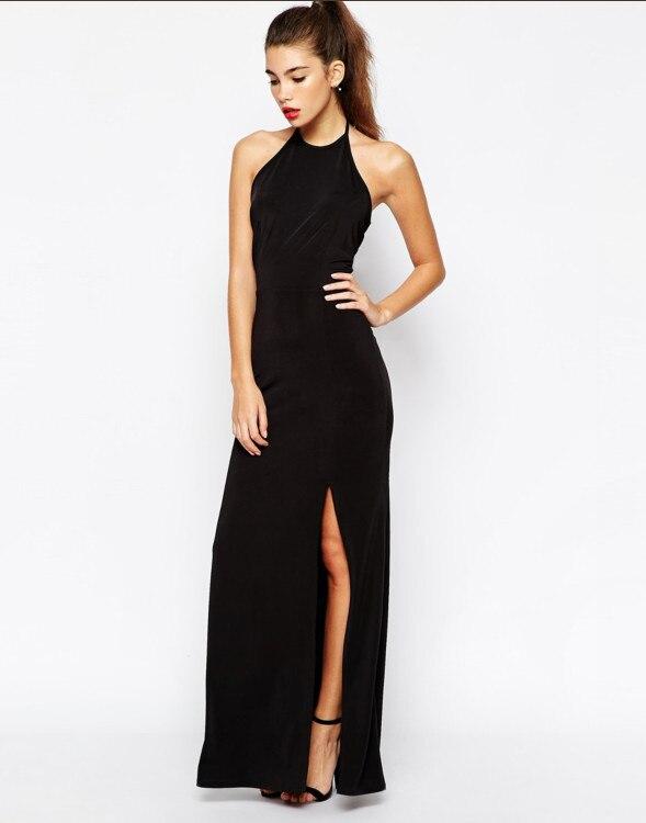 Black halter backless maxi dress