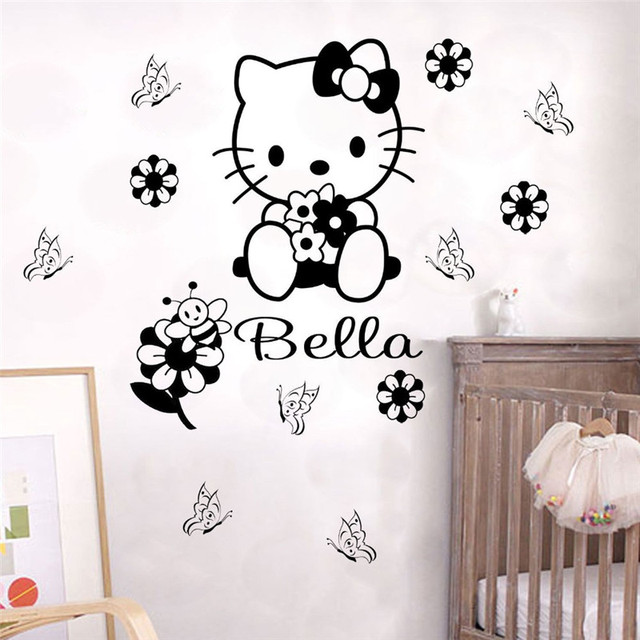 Custom name cartoon hello kitty wall sticker kids nursery room wall decal personalized words decal for