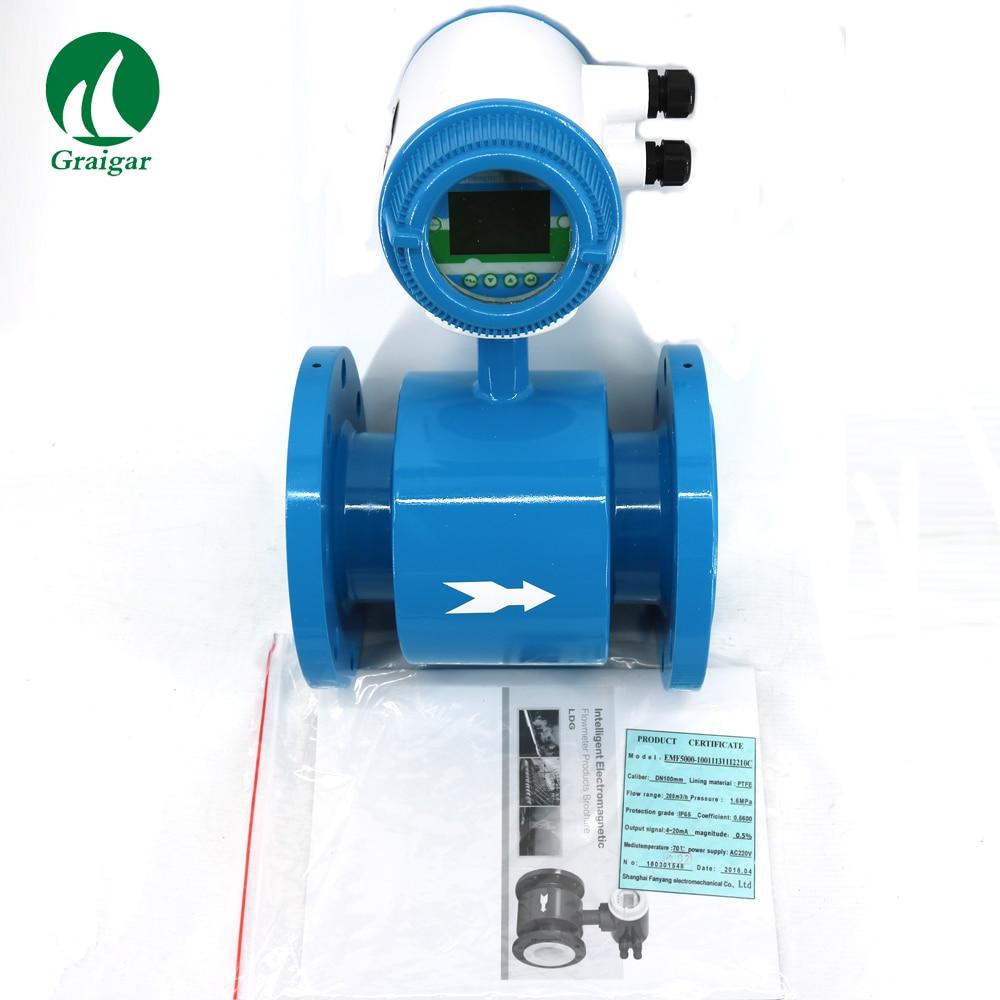 Débitmètre électromagnétique DN100MM avec sortie 4 ~ 20mA 4 ''débitmètres pour la plage de mesure d'opération automatique de l'eau DN10 ~ DN600