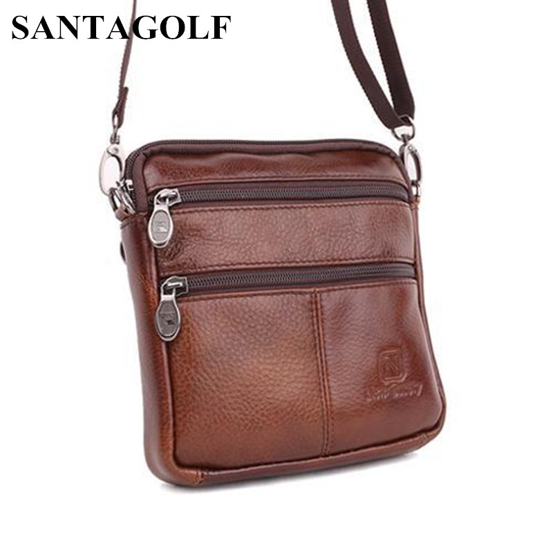 Vintage Famous Brand 100 Guarantee Real Cowskin men shoulder crossbody bags Fashion Double zipper design men