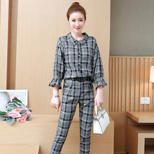 Green Plaid women suits trousers 2 piece top and pant suit outfit co-ord set Office OL 2019 spring rufflies elegant clothing