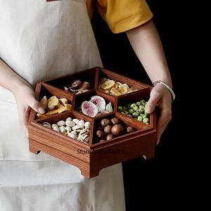 Image 2 - 유럽 크리 에이 티브 단단한 나무 사탕 상자 뚜껑 건조 과일 스낵 상자 홈 나무 견과류 멜론 스토리지 박스 결혼 선물