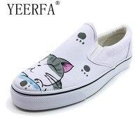 YEERFA Groothandel Retail vrouwen Casual Schoenen Hot Sales, zomer Mode Meisje Canvas Schoenen Lage Handgeschilderde Schoenen Zapatones